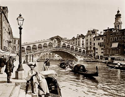 The Rialto Bridge on the Grand Canal, Venice Gondolas, Italy