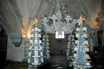 Bone chandelier and pyramid