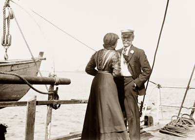 Robert Peary arctic explorer with wife on SS Roosevelt