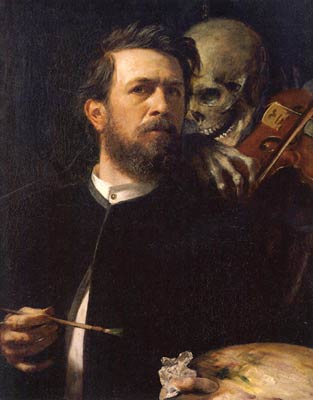 Selfportrait with death by Arnold Bocklin