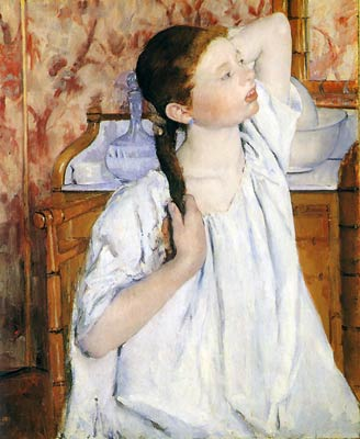Girl arranging her hair Mary Cassatt