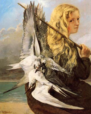 Girl with Seagulls, Trouville by Gustave Courbet