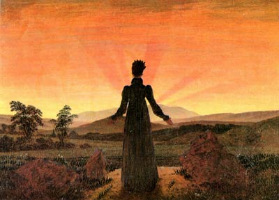 Woman before going down sun Caspar David Friedrich