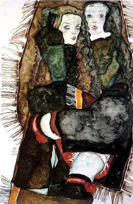 Two Girls on a Fringed Blanket Egon Schiele