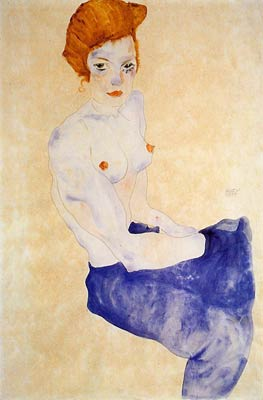 Seated Girl with Bare Torso and Light Blue Skirt Egon Schiele
