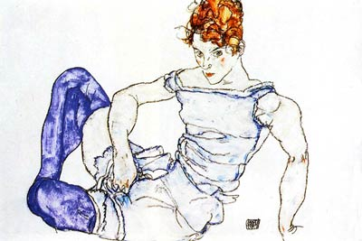 Seated Woman in Violet Stockings Egon Schiele