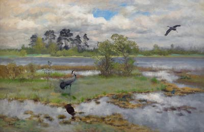 Landscape with Cranes by the Water Bruno Liljefors