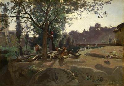 Peasants under the Trees at Dawn Jean-Baptiste Camille Corot