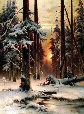 Winter sunset in the fir forest Julius Sergius von Klever