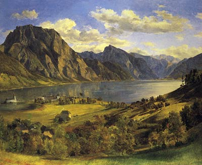Landscape around Lake of Traun with a castle Ferdinand Georg Wal