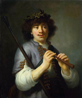 Rembrandt as Shepherd with Staff and Flute Govaert Flinck