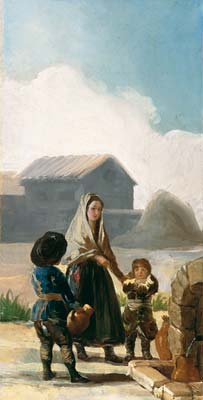 A woman and two children by a fountain