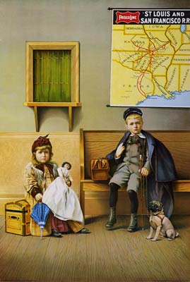 Boy and Girl in railroad station waiting room Poster