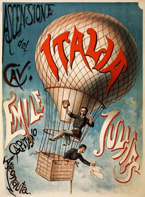 Ascensione del cavaliere Emile Julhes early flight poster