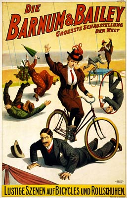 Barnum & Bailey bicycles and rollerskates, German Poster 1900
