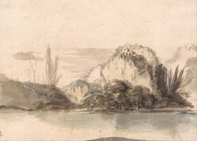 A Temple Perched on a Rocky Outcrop Seen Across a Lake