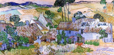 Thatched Cottages by a Hill 1890 Van Gogh