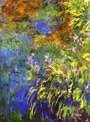 Iris by the lily pond Monet
