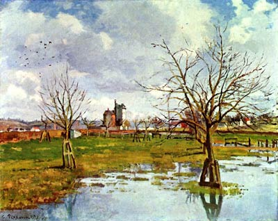 Landscape with flooded fields Camille Pissarro