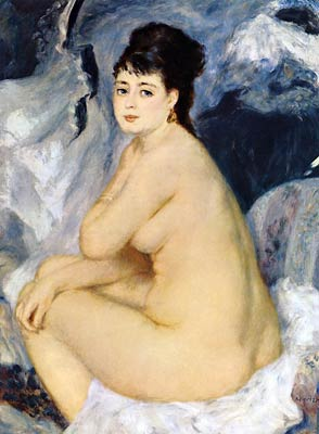 Nude Seated on a Sofa Renoir