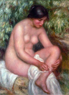 Bathing girl tending a wound Renoir