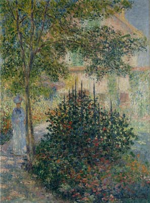 Camille monet in the garden at argenteuil
