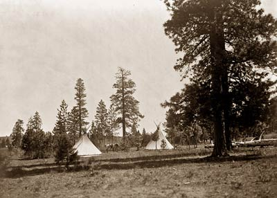 A mountain camp - Yakima - teepees pine trees and horse