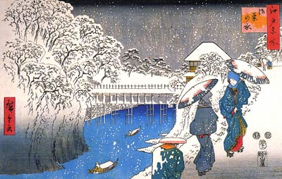 Two ladies conversing in the snow Ando Hiroshige