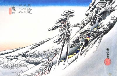 A Castle on a Snow Covered Slope Ando Hiroshige