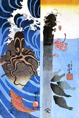 Octopus and Fish Utagawa Kuniyoshi
