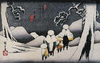 Travellers on horseback in the snow