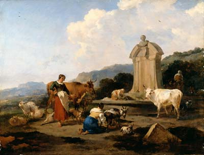 Roman Fountain with Cattle and Figures (Le Midi)