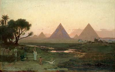 The pyramids at Giza from the bank of the Nile