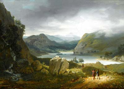 A View of Loch Lomond, Scotland, with Figures on a Path in the F