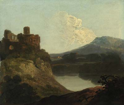 Welsh landscape with a ruined castle by a lake