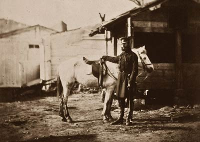 Colonel Goodlake with horse, Crimean War