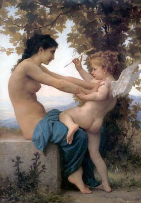 A young girl defending herself against Eros William-Adolphe Boug
