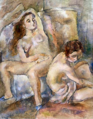 Two Young Girls in Repose Jules Pascin