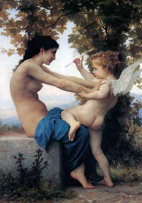Girl defending herself against love William Adolphe Bouguereau