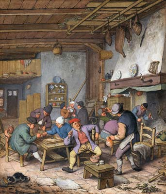 Room in an Inn with Peasants Drinking, Smoking and Playing Backg