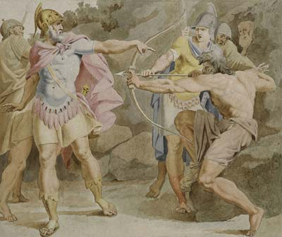 Philoctetes aiming the bow of Hercules at Odysseus