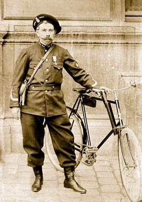 Paris policeman with his bicycle