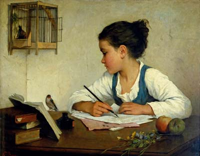 A Girl Writing; The Pet Goldfinch