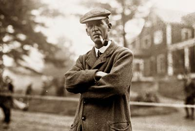 Walter J. Travis golfer and golf journalist, smoking pipe