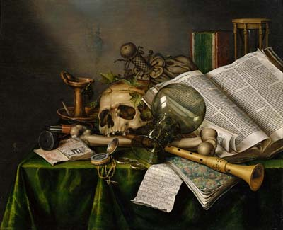 Vanitas Still Life with Books and Manuscripts and a Skull