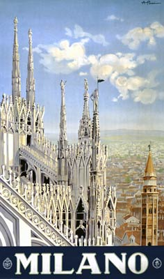 Milano, Cathedral, with the cityscape of Milan 1920