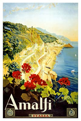Amalfi Italy old travel poster
