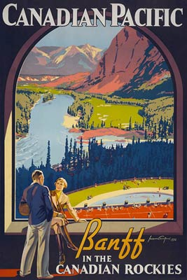 Banff in the Canadian Rockies Vintage Tourist Poster
