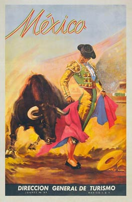 Mexico, Matador and Bull vintage tourist poster