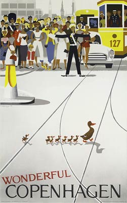 Wonderful Copenhagen, duck crossing road with babies poster